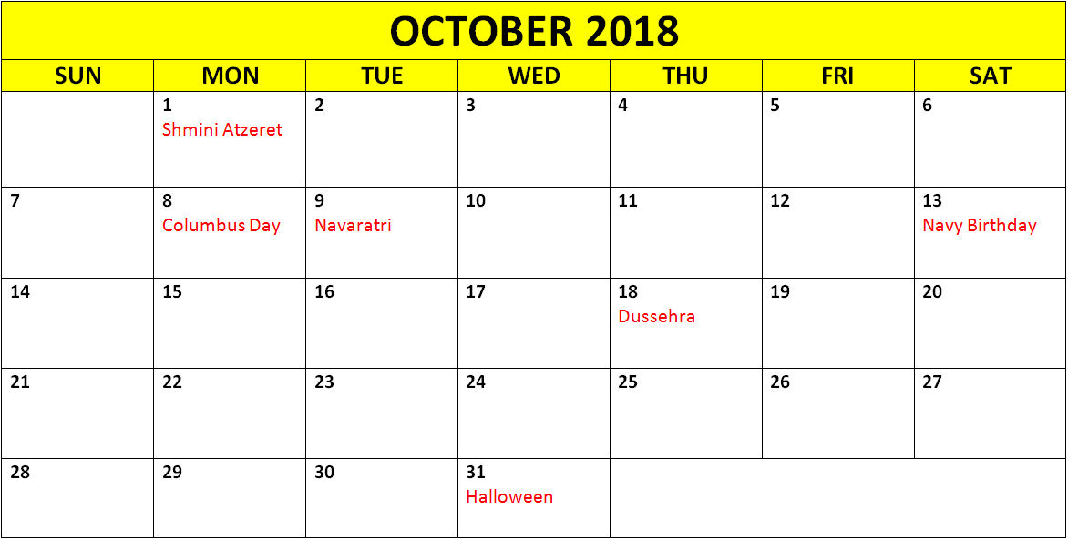 Printable October 2018 Calendar Holidays