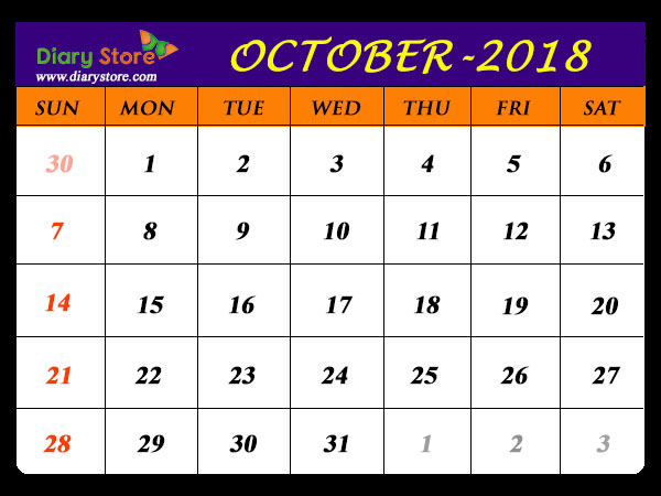 Printable October 2018 Calendar Singapore