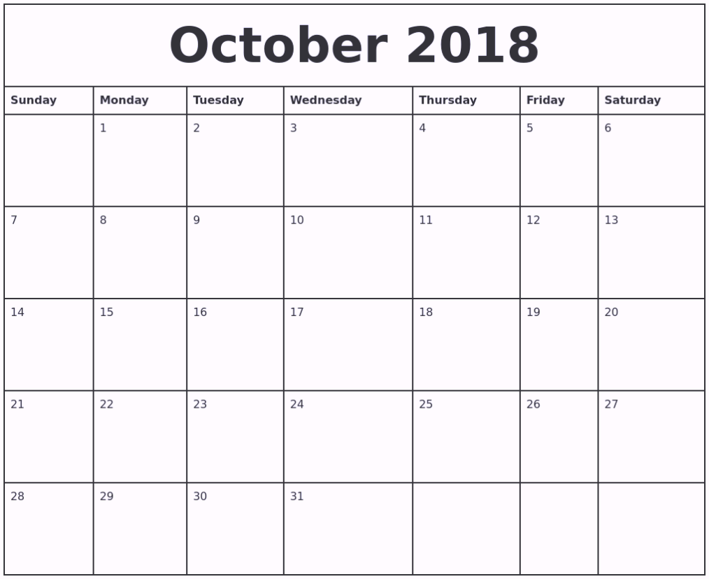 Printable October 2018 Calendar UK