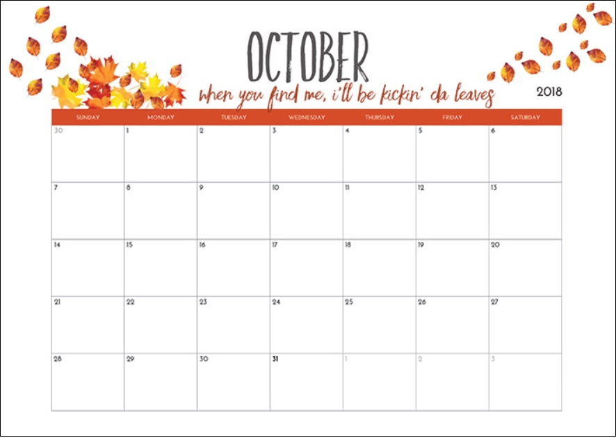Printable October 2018 Calendar With Quote
