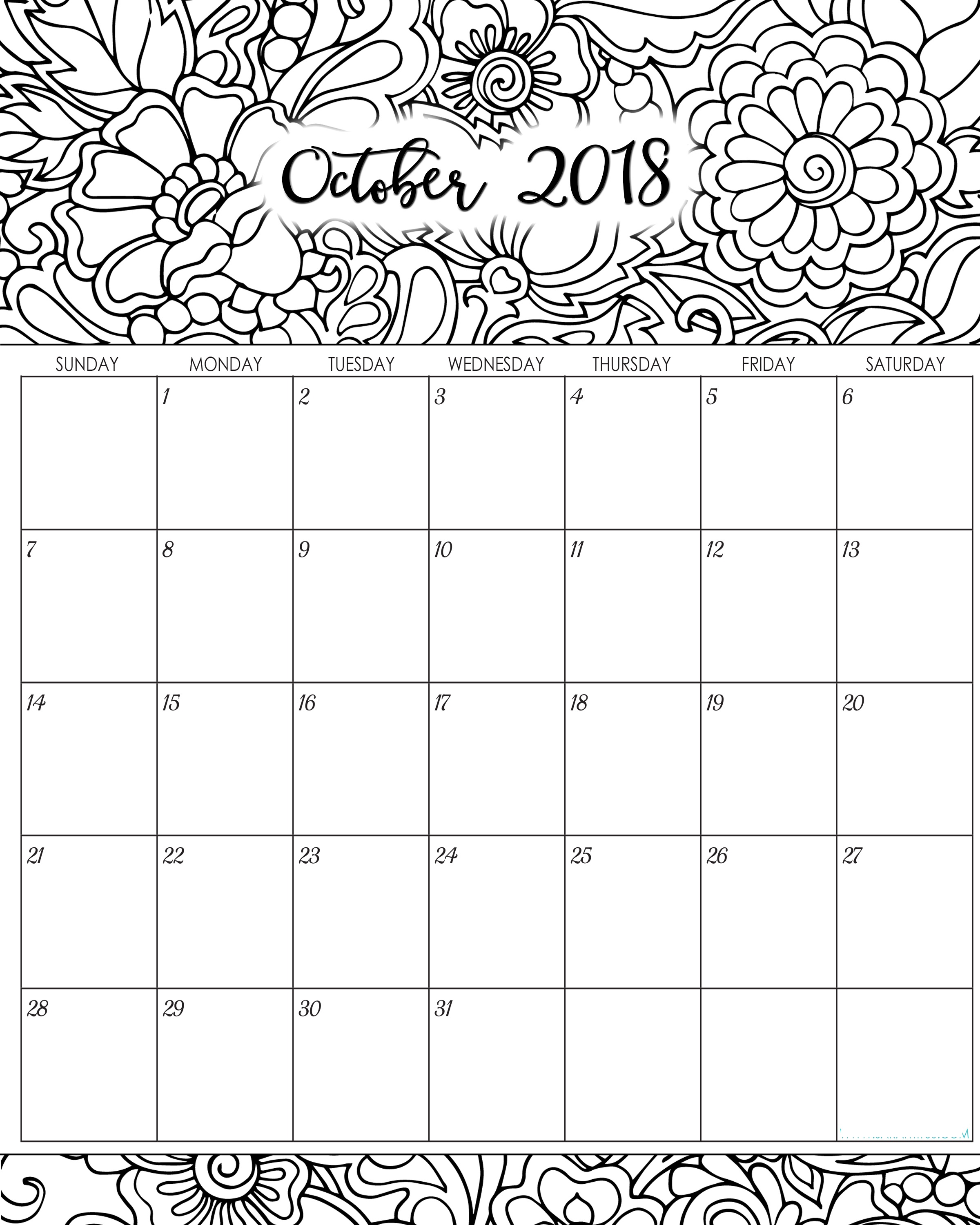 Printable October Calendar to Print