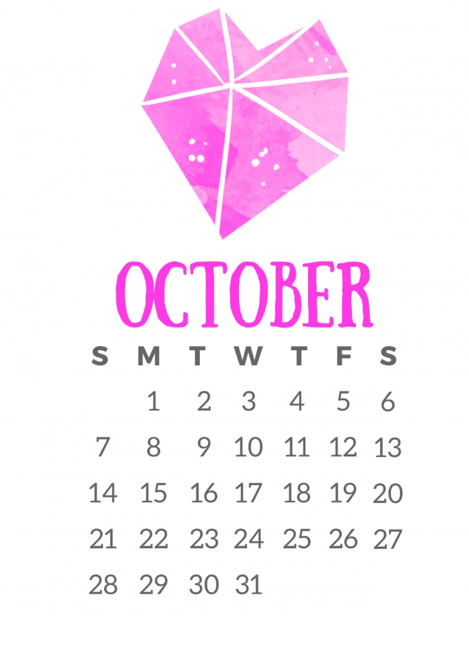Printable October 2018 Graphic Calendar