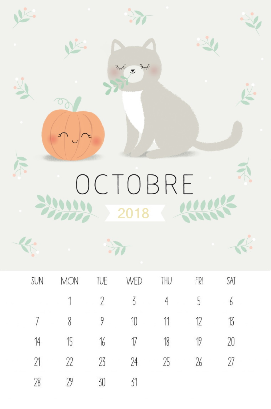 Printable October 2018 Halloween Calendar
