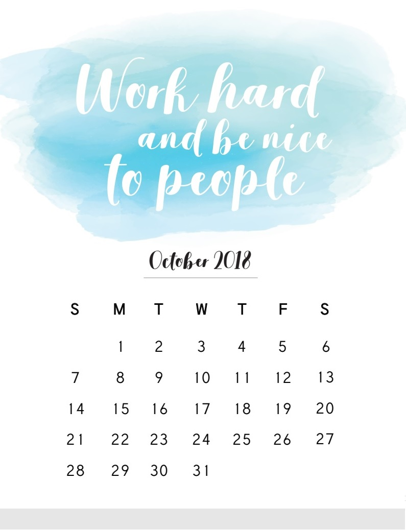 Printable October 2018 Inspirational Calendar