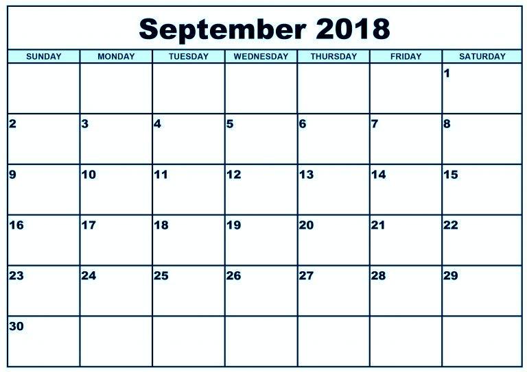 Printable September 2018 Blank Calendar