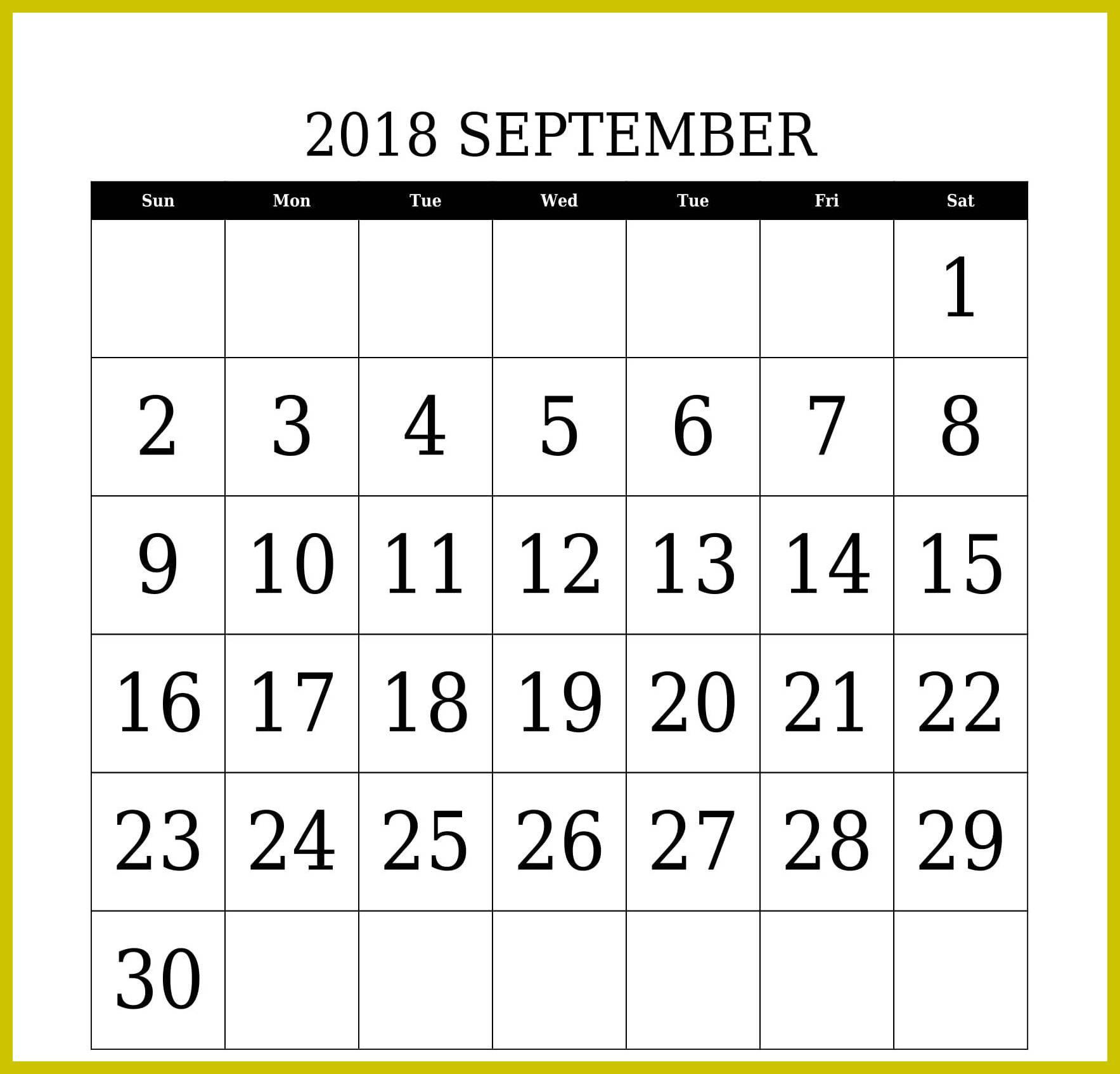 Printable September 2018 Calendar Australia