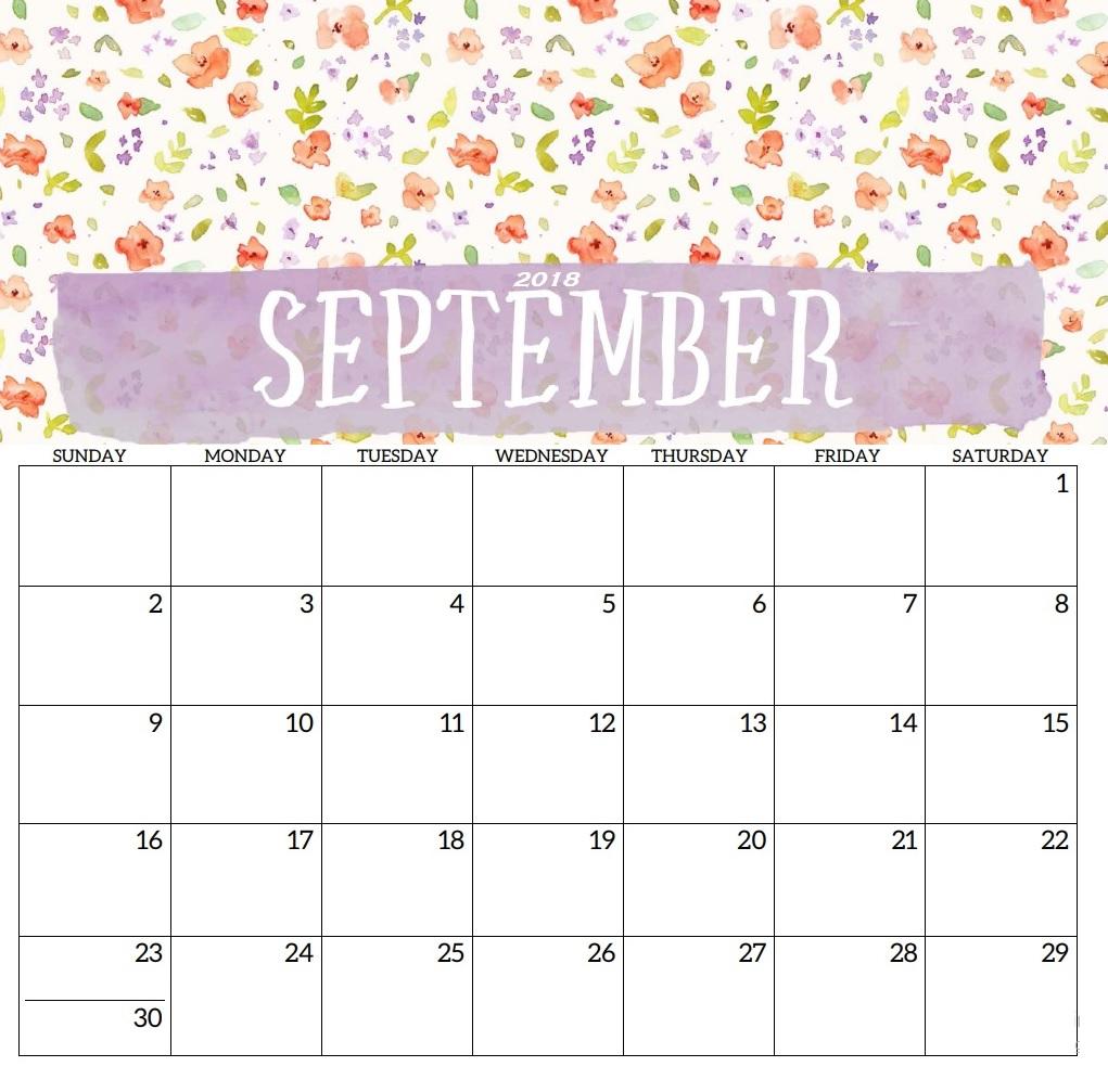 Printable September 2018 Calendar For Office
