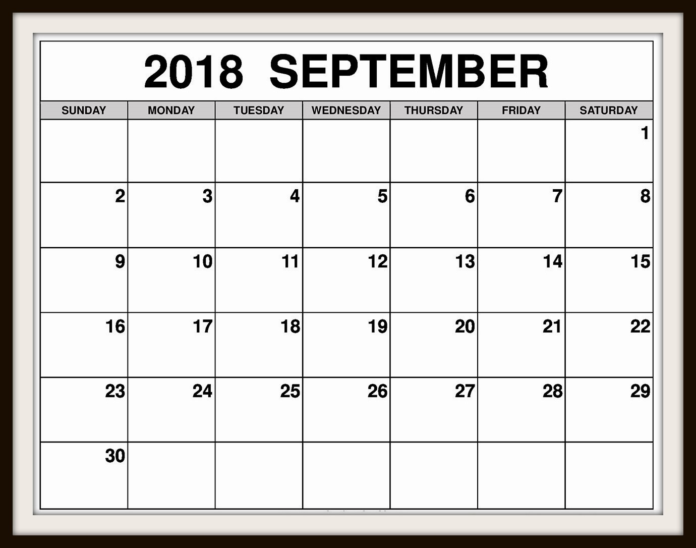 Printable September 2018 Calendar USA
