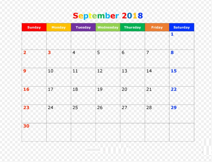 Printable September 2018 Colorful Calendar