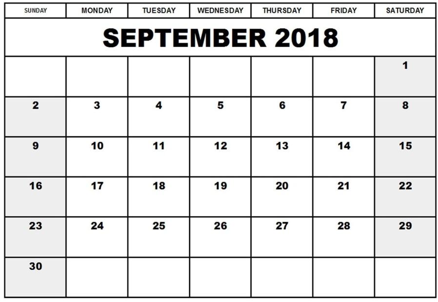 Printable September 2018 Editable Calendar