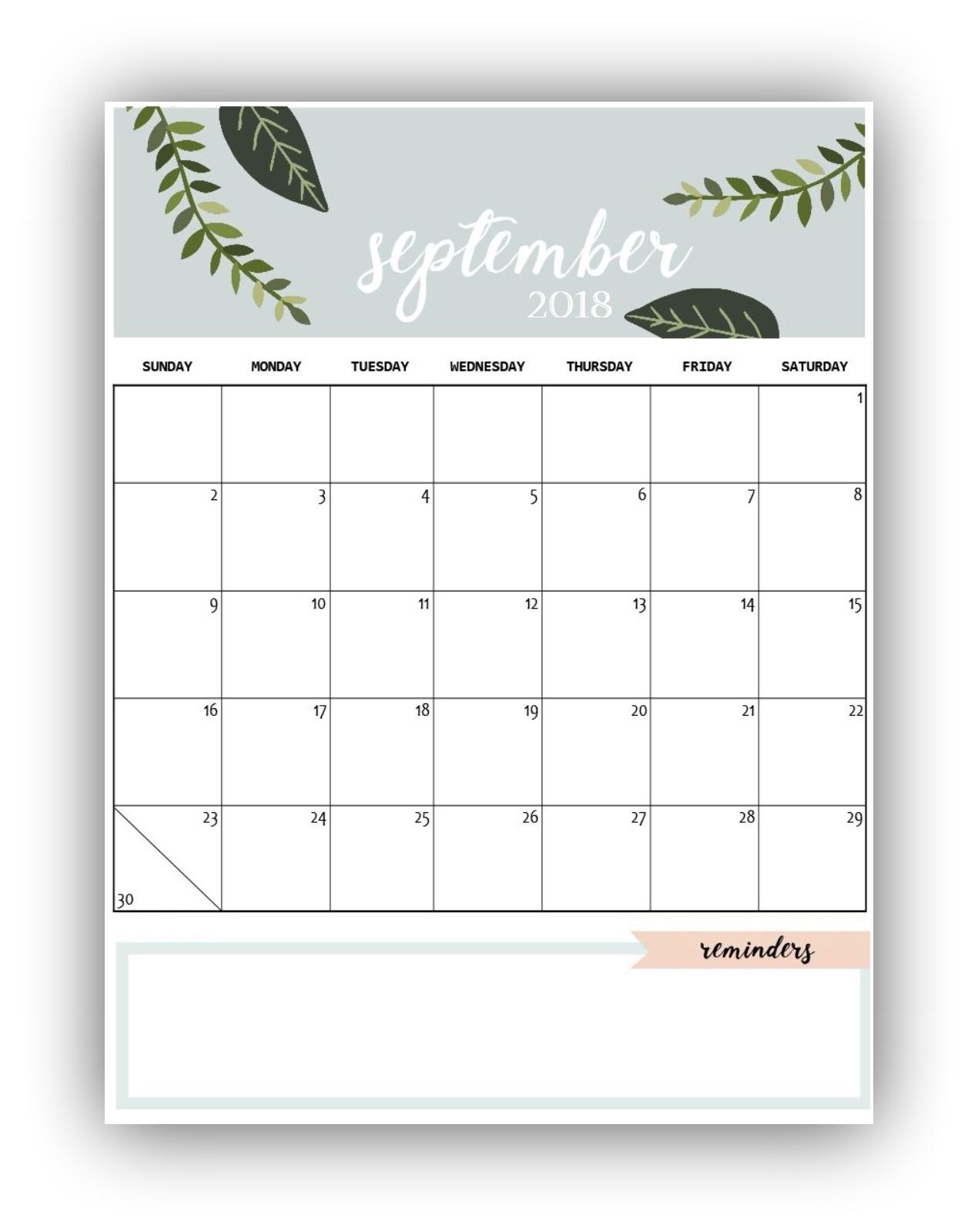 September 2018 Blank Calendar Free