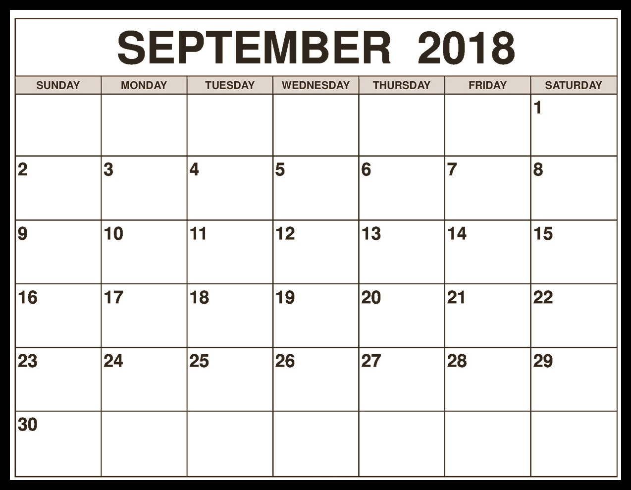 September 2018 Blank Calendar Printable Template