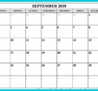 September 2018 Blank Calendar Template