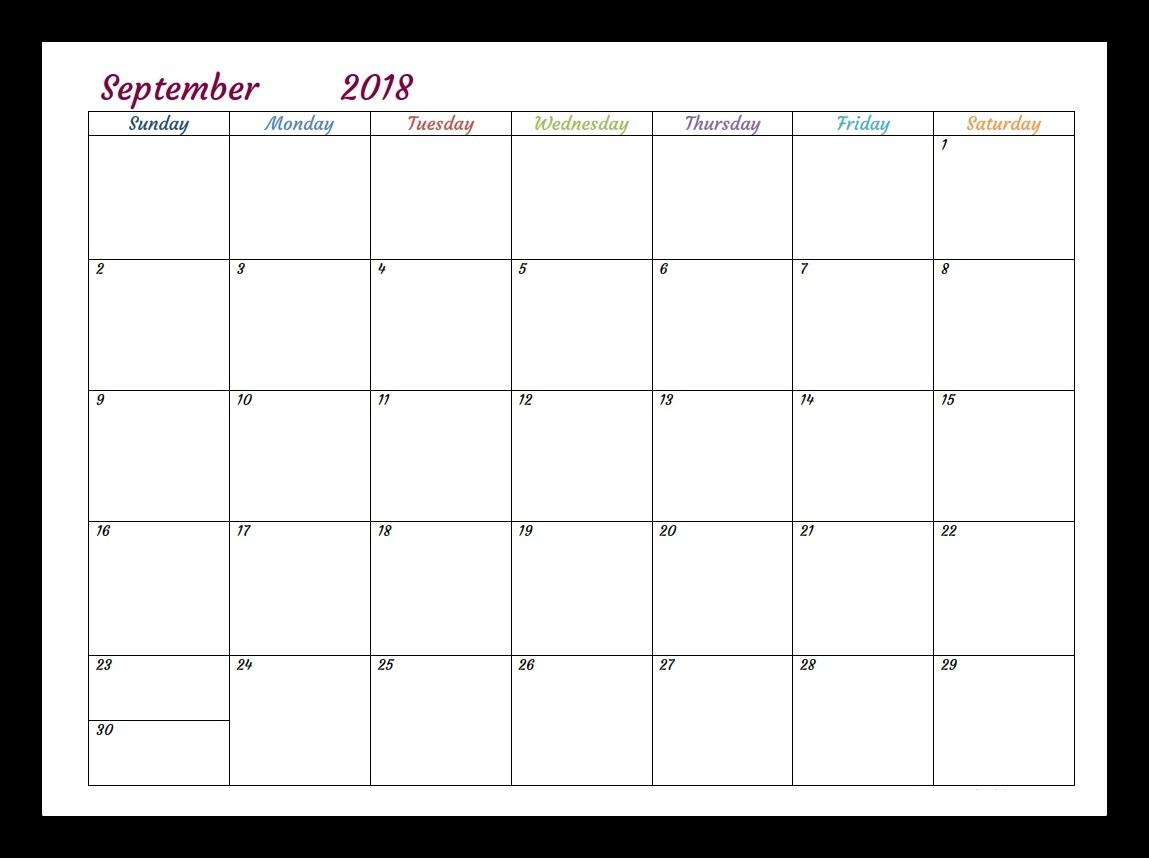 September 2018 Calendar Australia Printable
