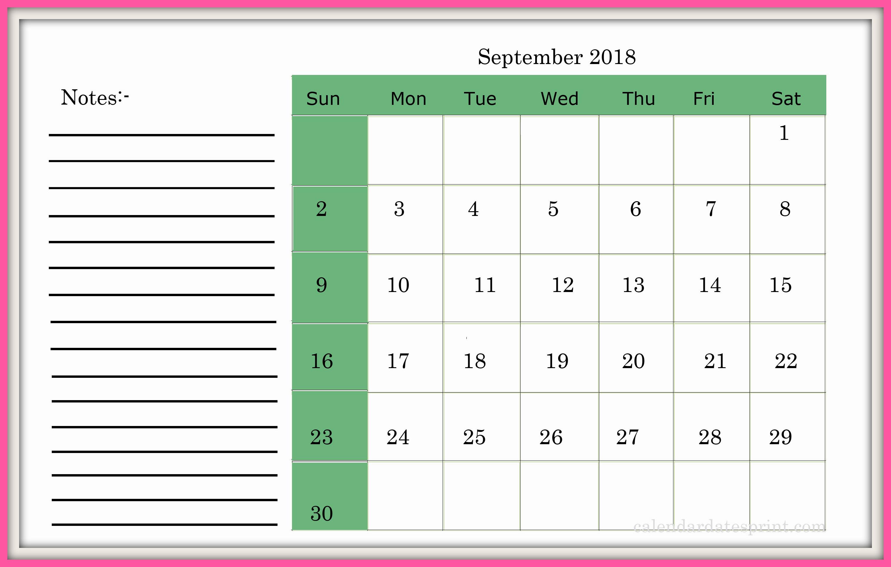 September 2018 Calendar Australia