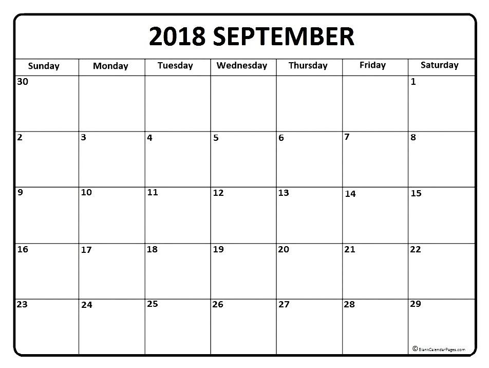 September 2018 Calendar Blank Templates