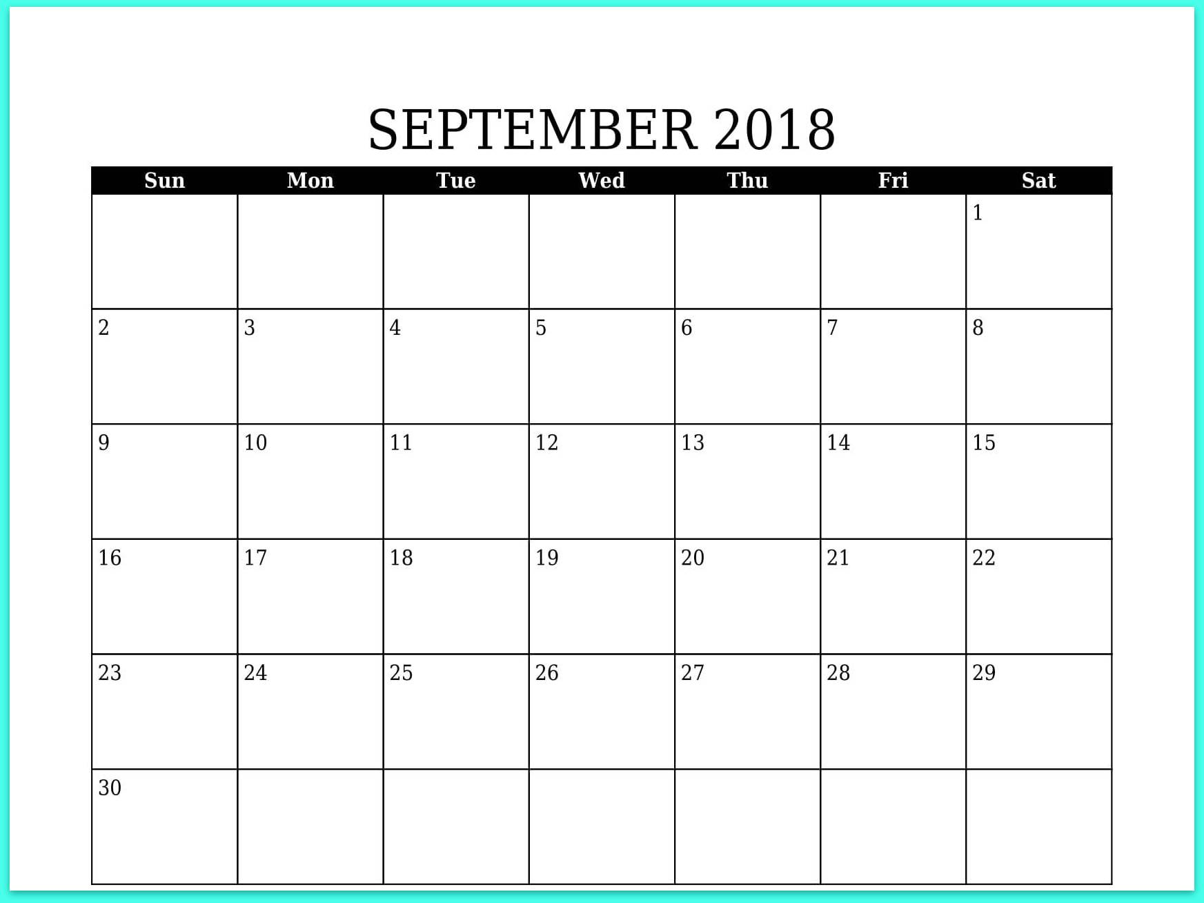 September 2018 Calendar Canada Holidays
