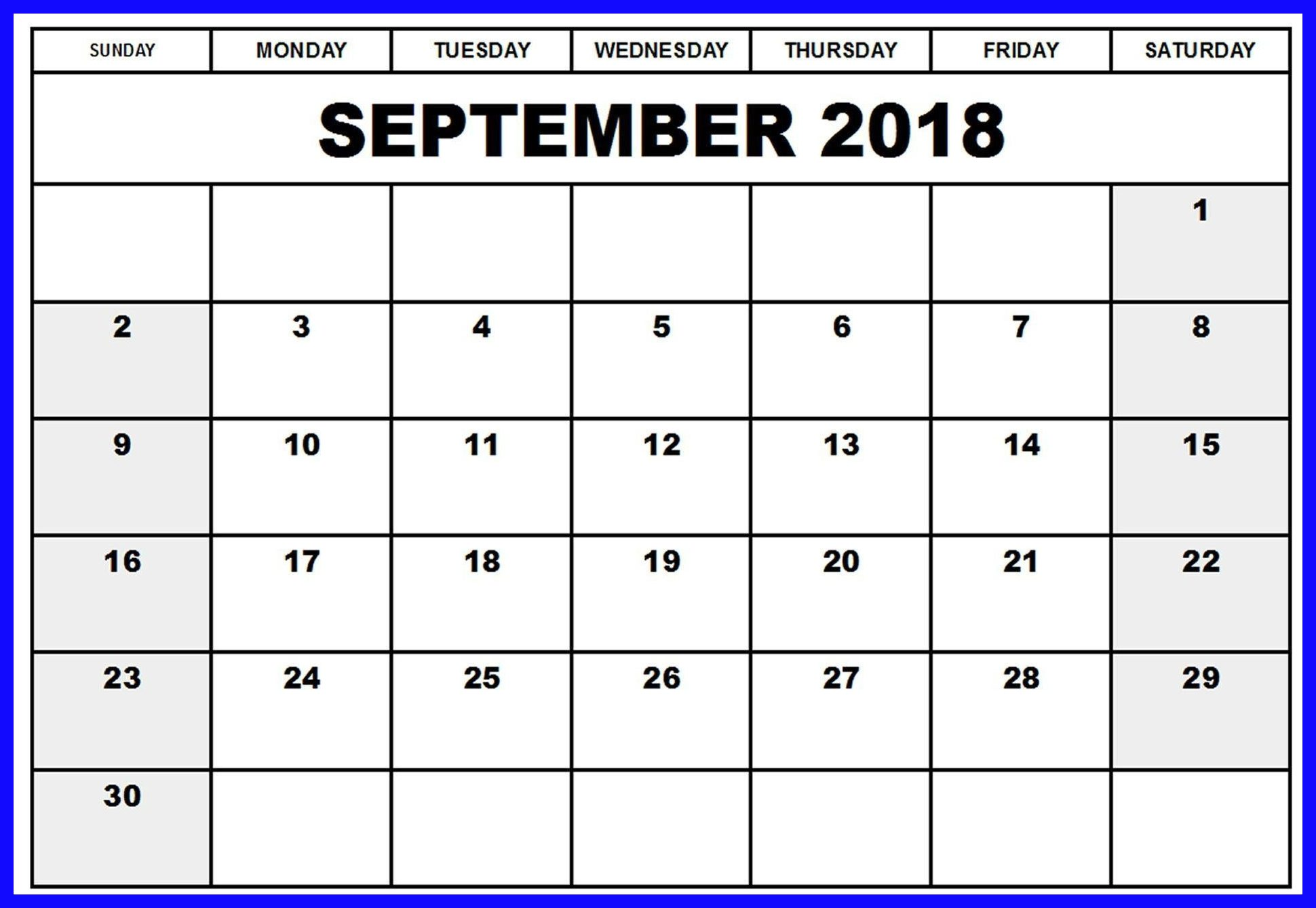 September 2018 Calendar Canada Printable