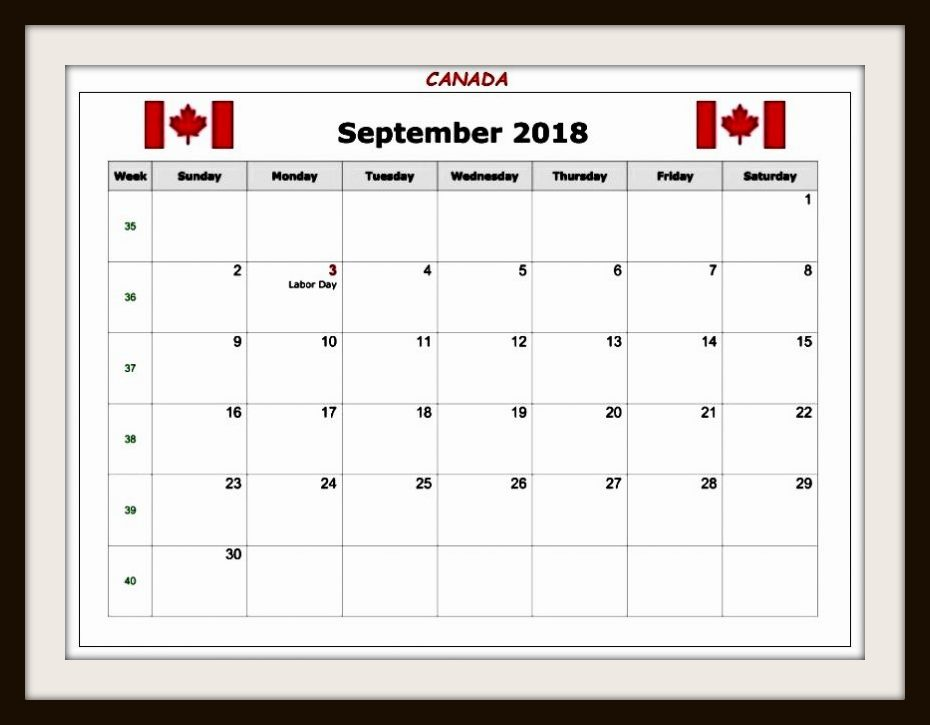 September 2018 Calendar Canada With Holidays