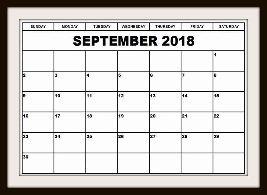 September 2018 Calendar Canada