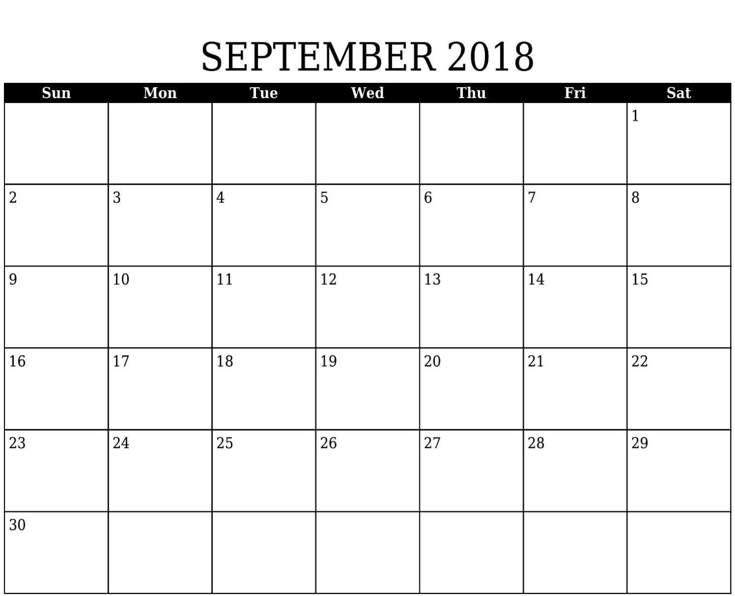 September 2018 Calendar Cute Free