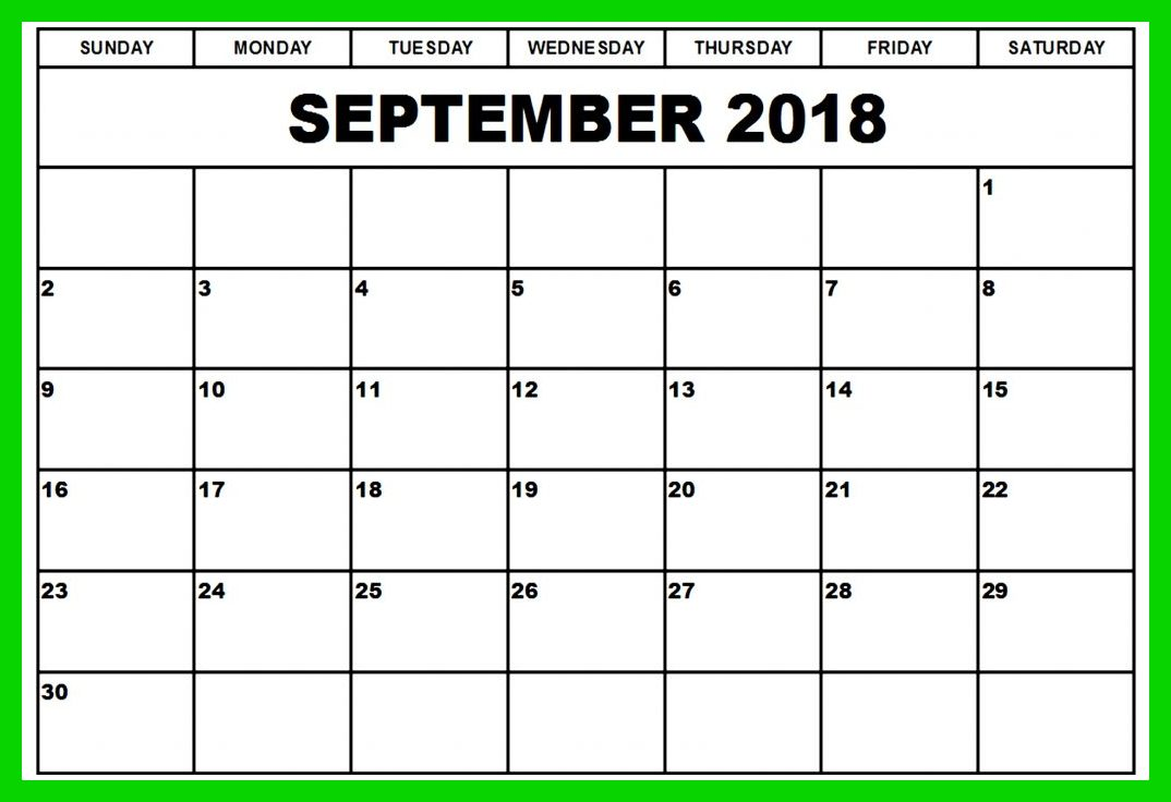 September 2018 Calendar Cute Holidays