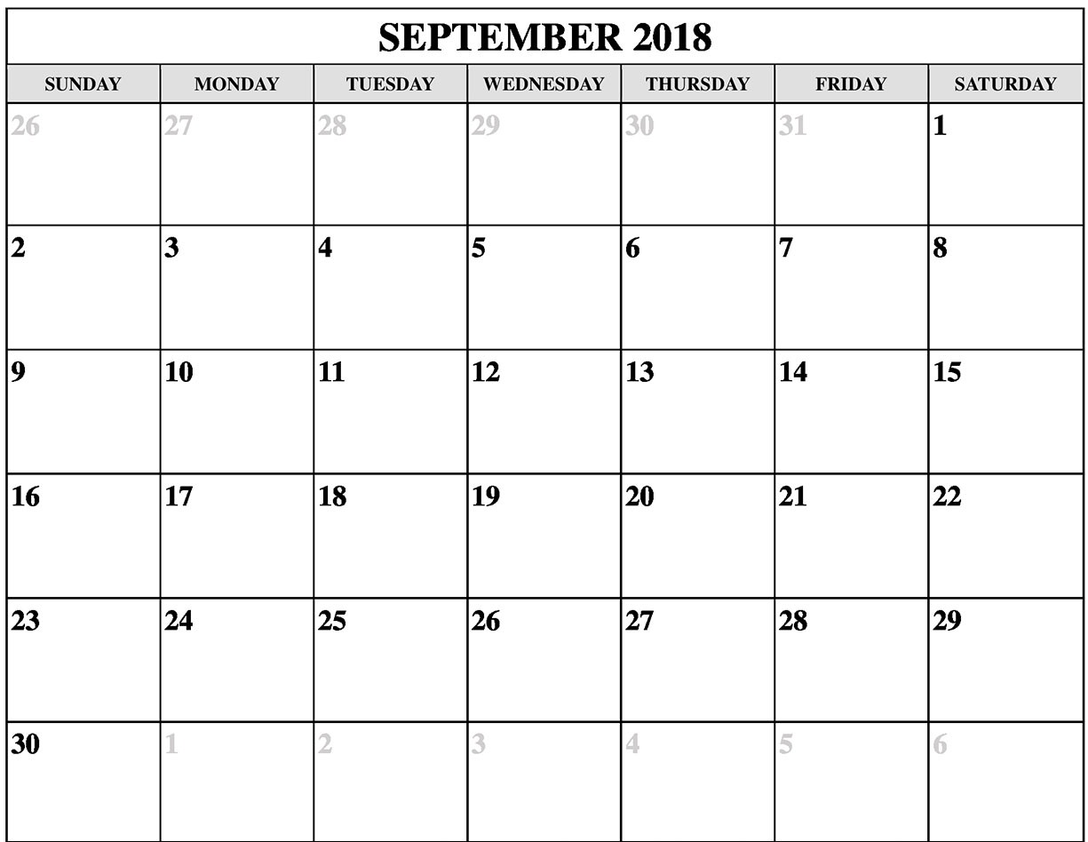 September 2018 Calendar Cute Printable
