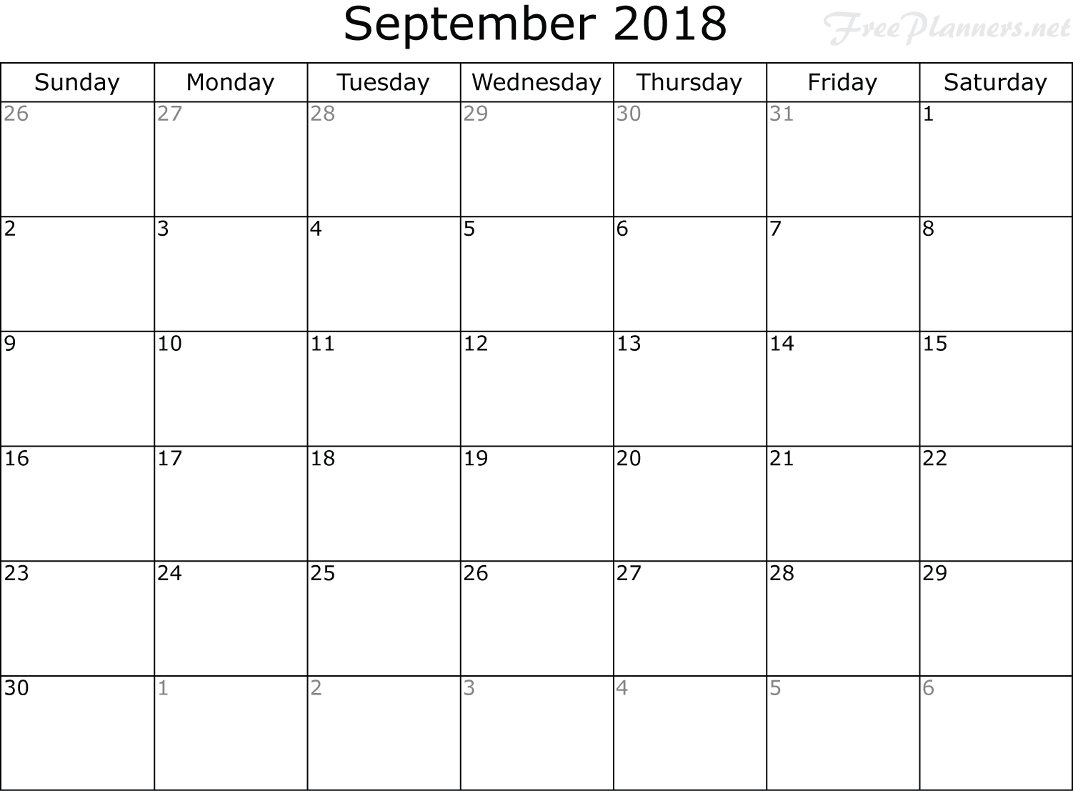 September 2018 Calendar Cute Template