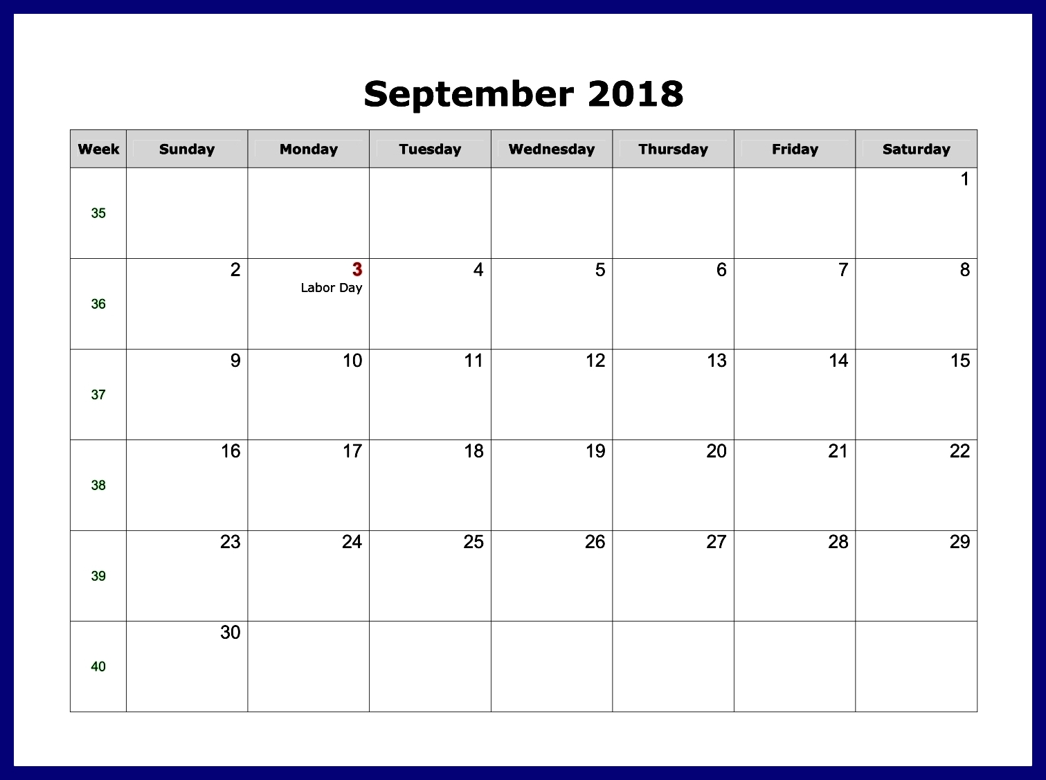 September 2018 Calendar Editable Excel word pdf