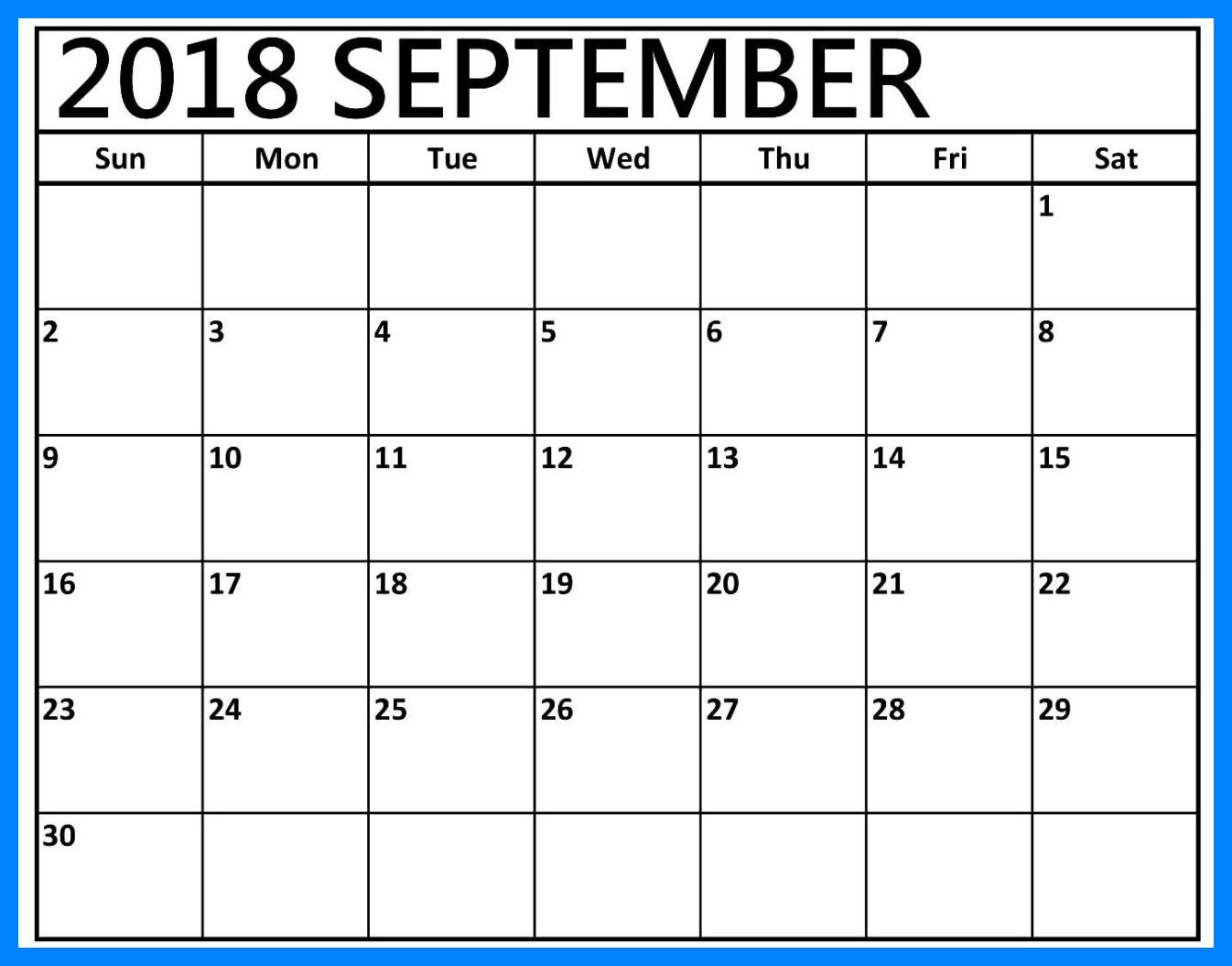 September 2018 Calendar Editable Holidays