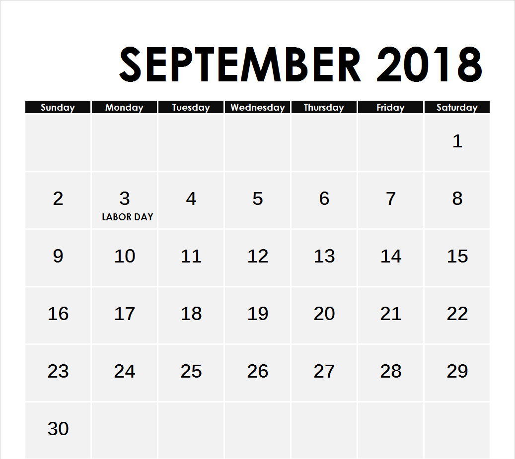 September 2018 Calendar Editable Template