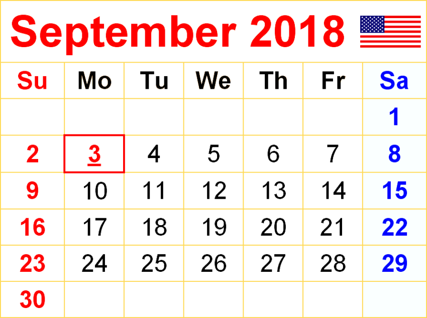 September 2018 Calendar Editable USA UK Canada