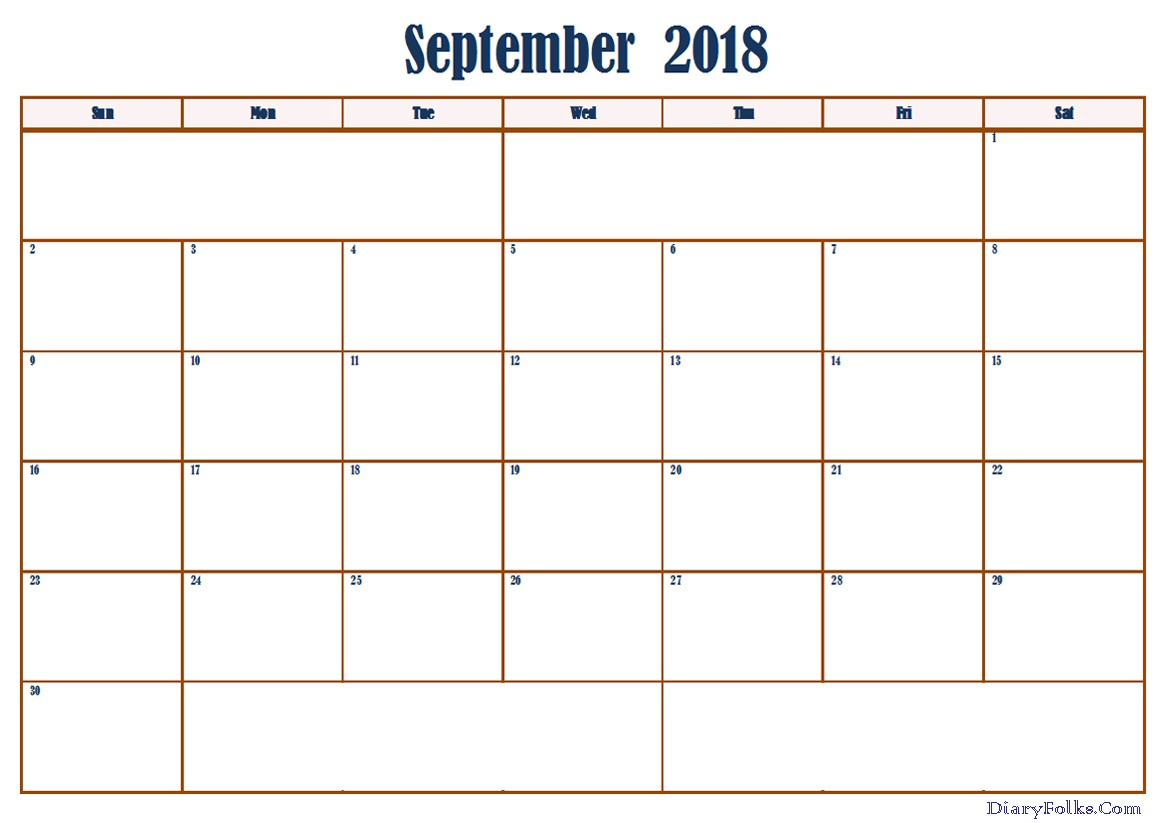 September 2018 Calendar Excel Printable