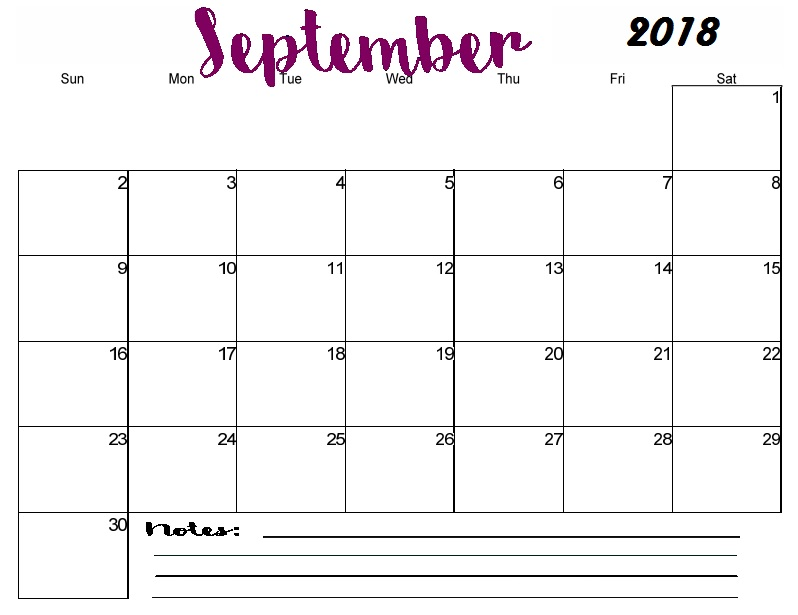 September 2018 Calendar Excel With Notes