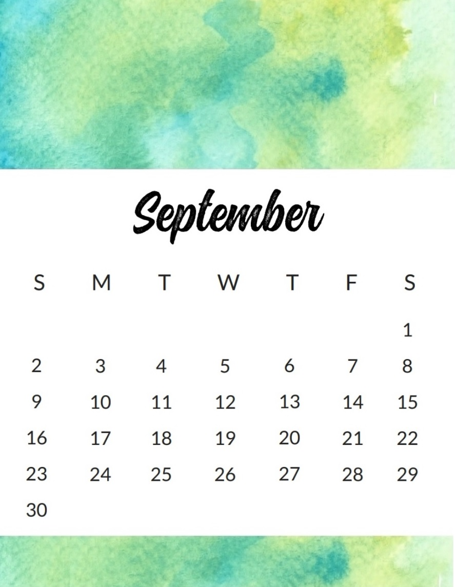 September 2018 Calendar For Office Desk