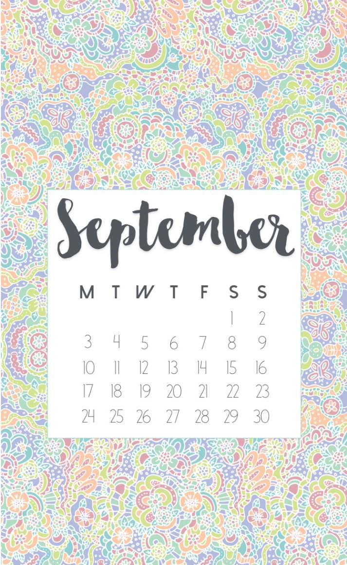 September 2018 Calendar For iPhone Home Screen