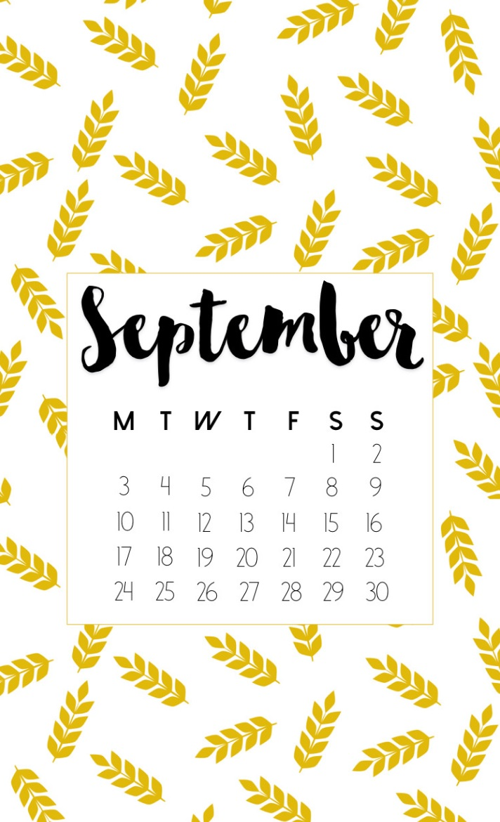 September 2018 Calendar For iPhone