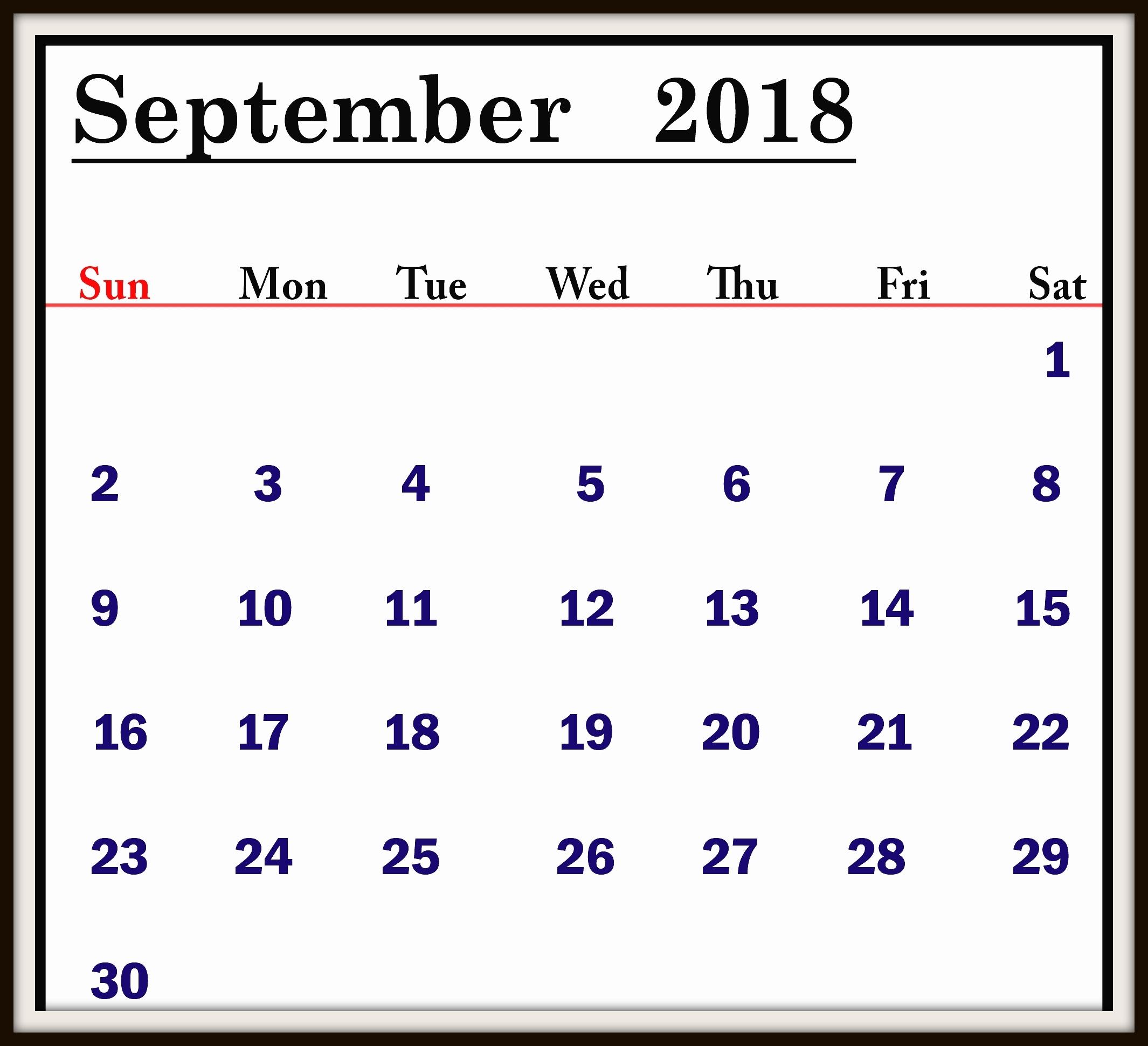 September 2018 Calendar Holidays