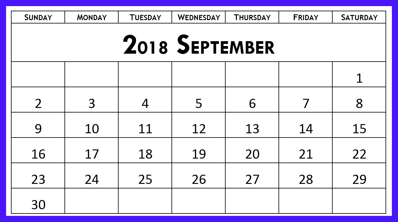 September 2018 Calendar PDF Excel