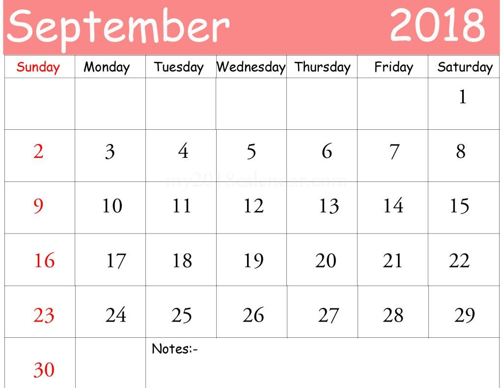 September 2018 Calendar PDF Printable Free