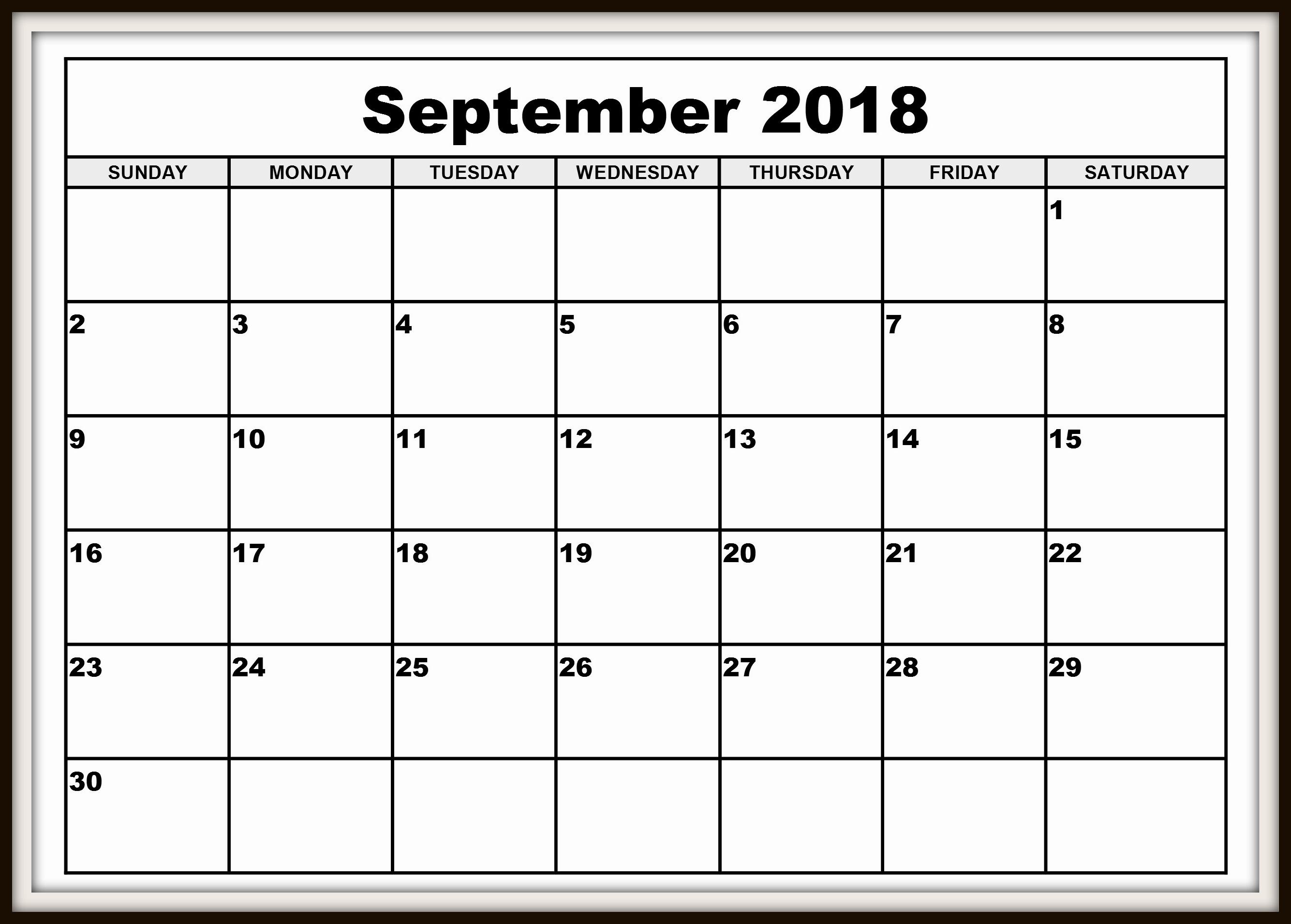 September 2018 Calendar PDF Printable