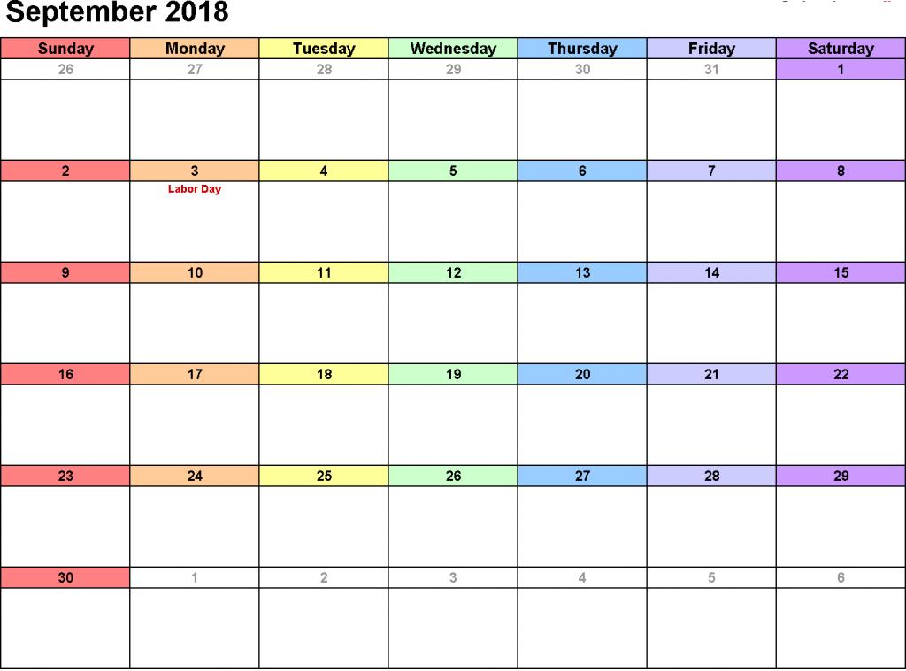 September 2018 Calendar PDF Template