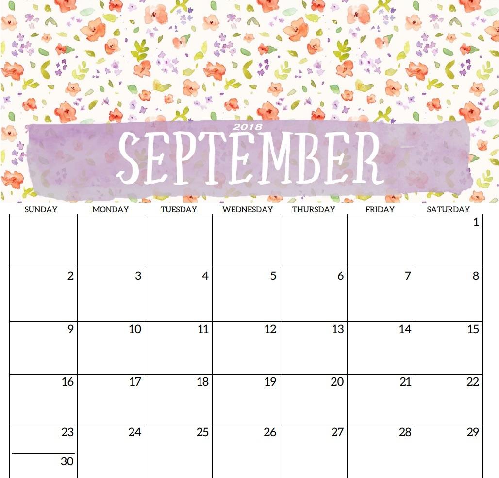 September 2018 Calendar PDF Word
