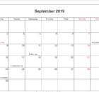 September 2018 Calendar PDF with Holidays