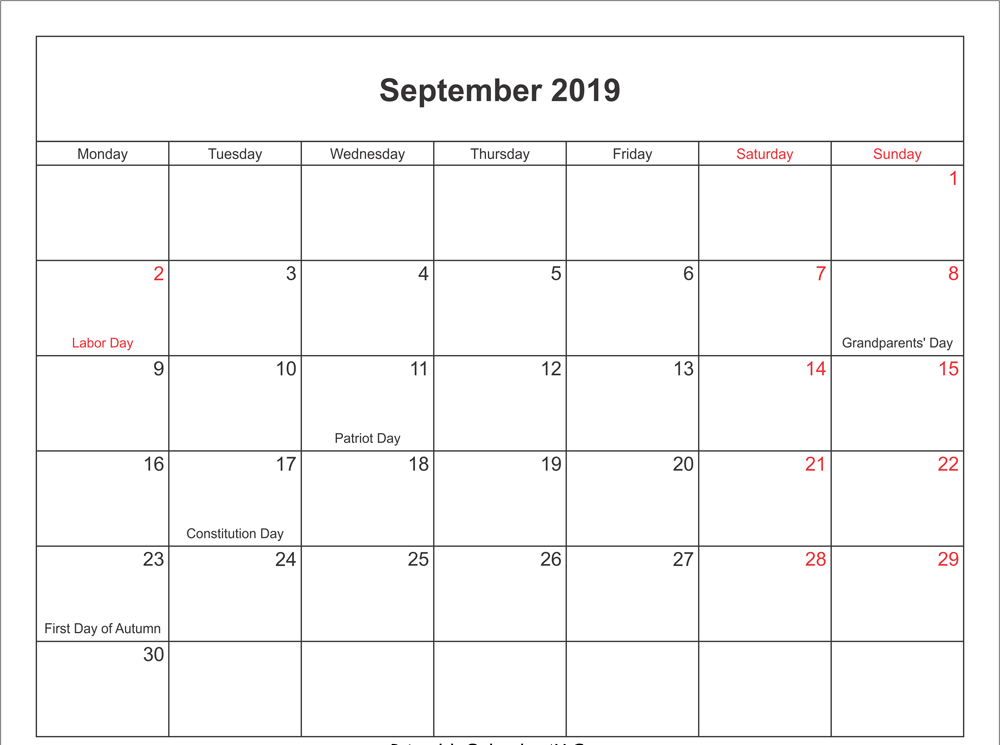September 2018 Calendar PDF with Holidays