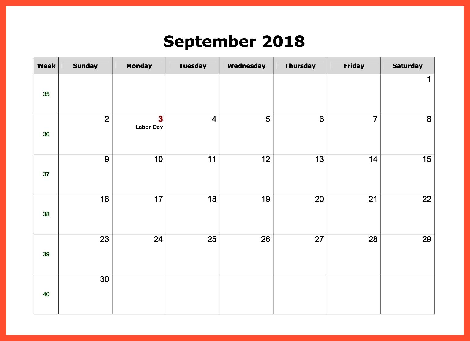 September 2018 Calendar PDF