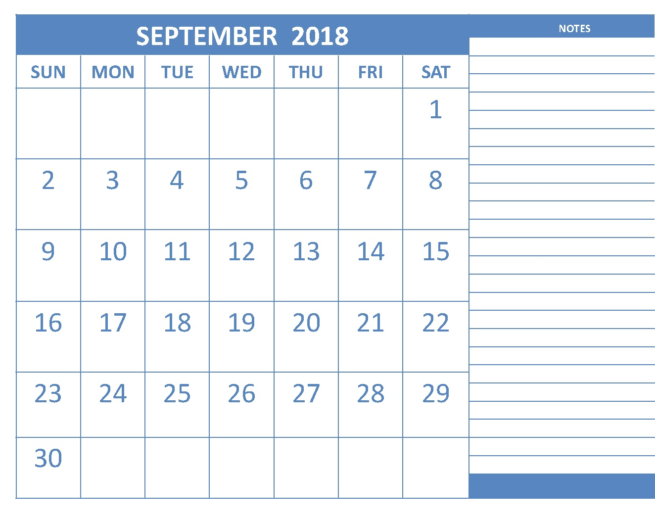 September 2018 Calendar Page With Notes