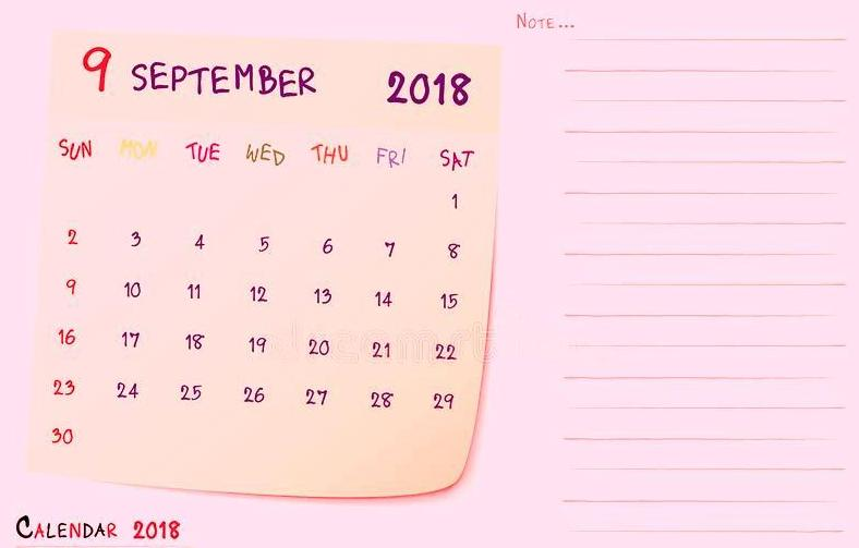 September 2018 Calendar Pink With Notes