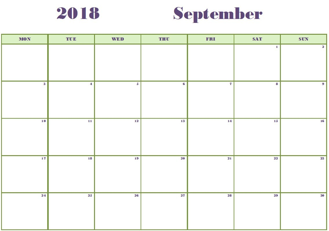 September 2018 Calendar Printable Excel