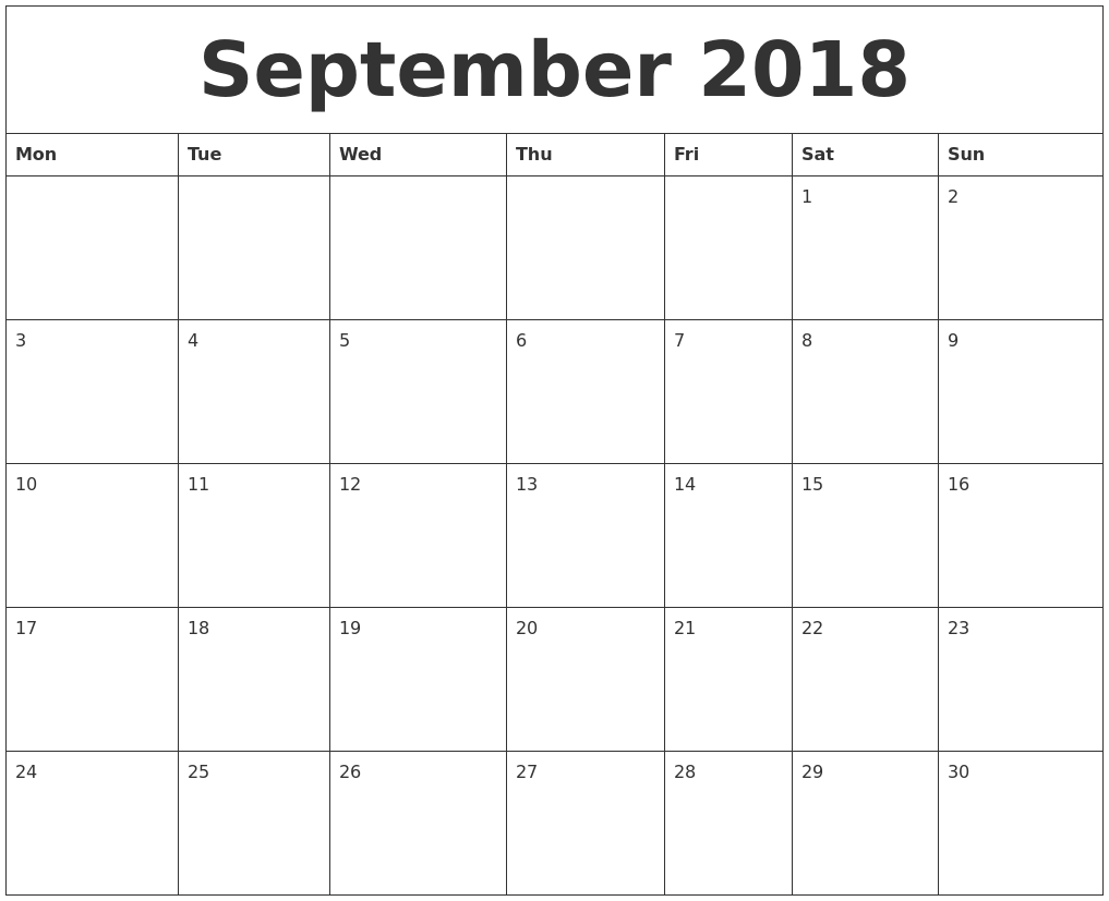 September 2018 Calendar Printable USA UK Canada